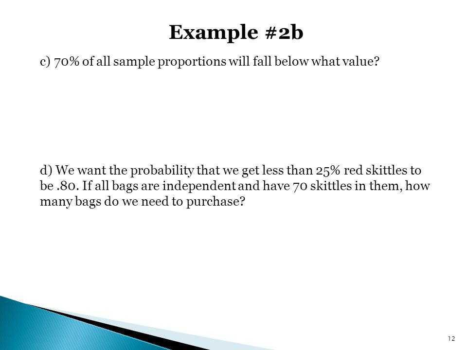 Example #2b c) 70% of all sample proportions will fall below what value