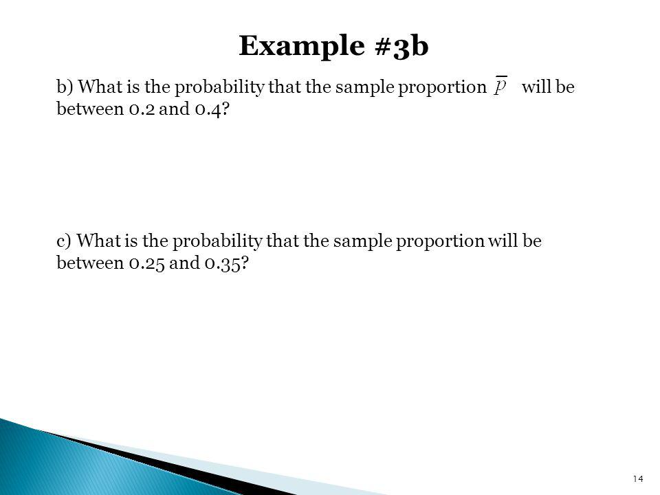 Example #3b b) What is the probability that the sample proportion will be between 0.2 and 0.4