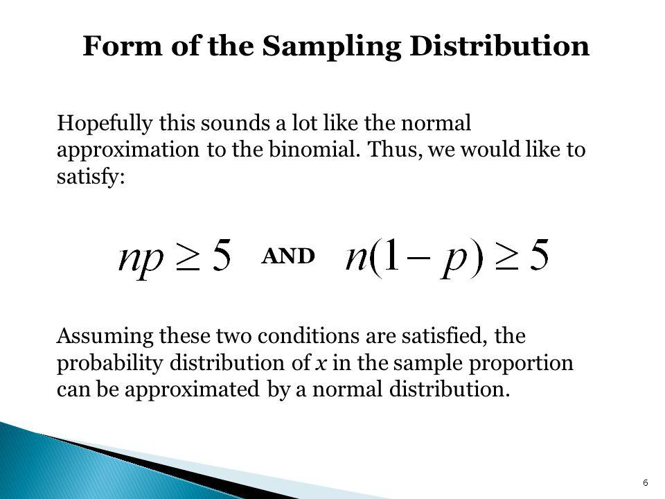 Form of the Sampling Distribution