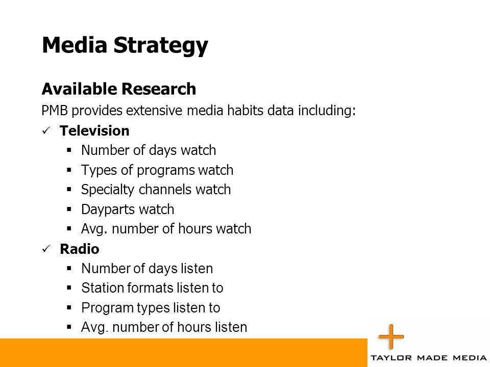 Media Strategy Available Research