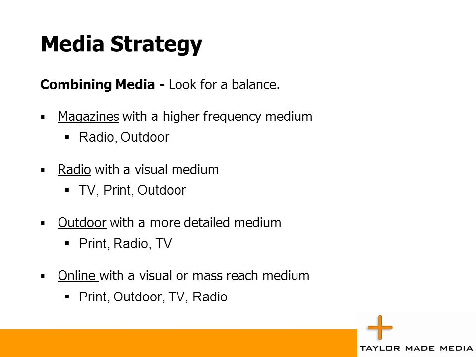 Media Strategy Combining Media - Look for a balance.