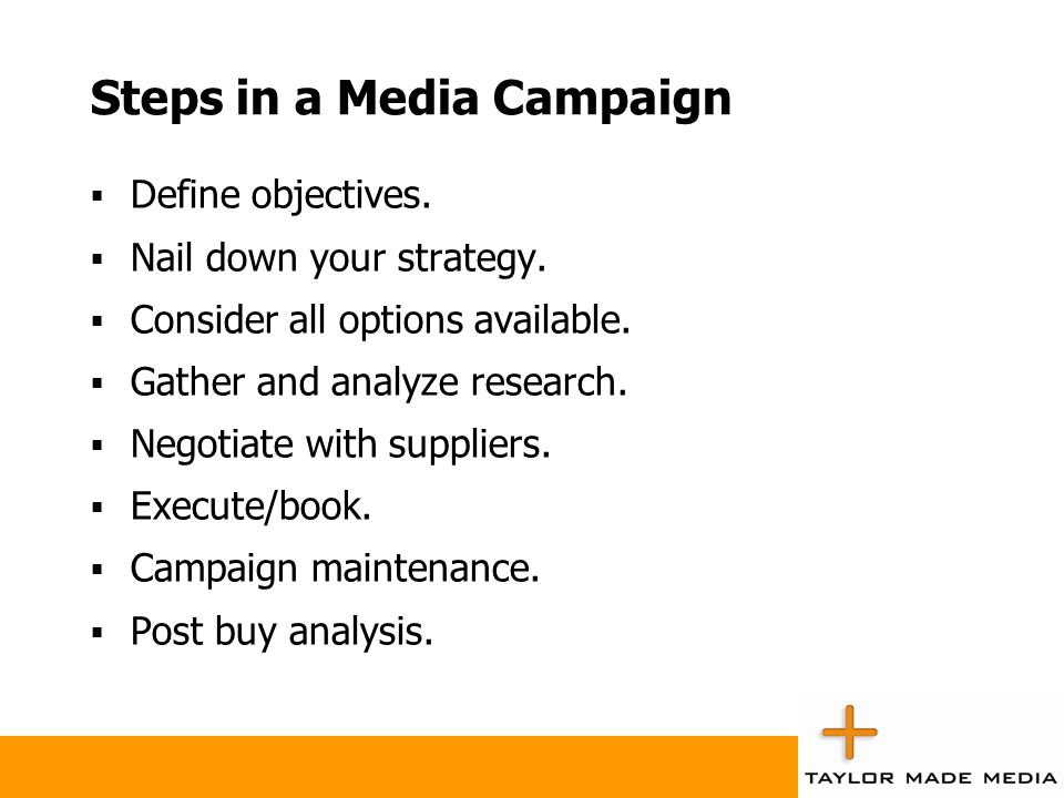 Steps in a Media Campaign