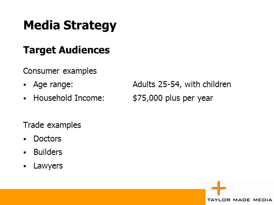 Media Strategy Target Audiences Consumer examples