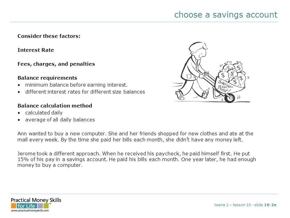choose a savings account