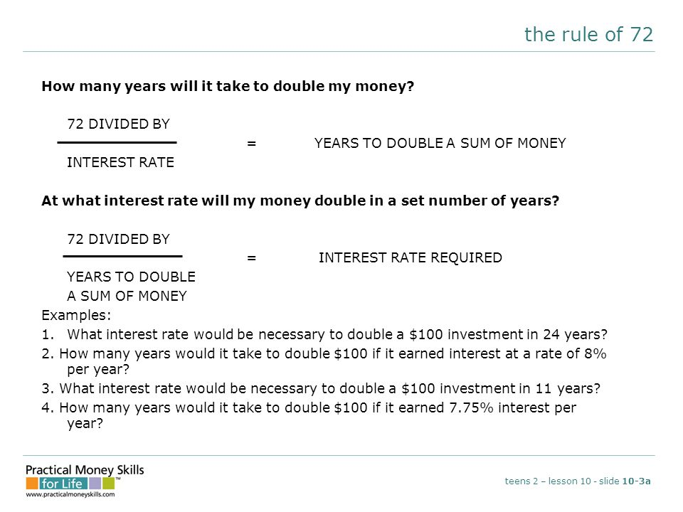 the rule of 72 How many years will it take to double my money