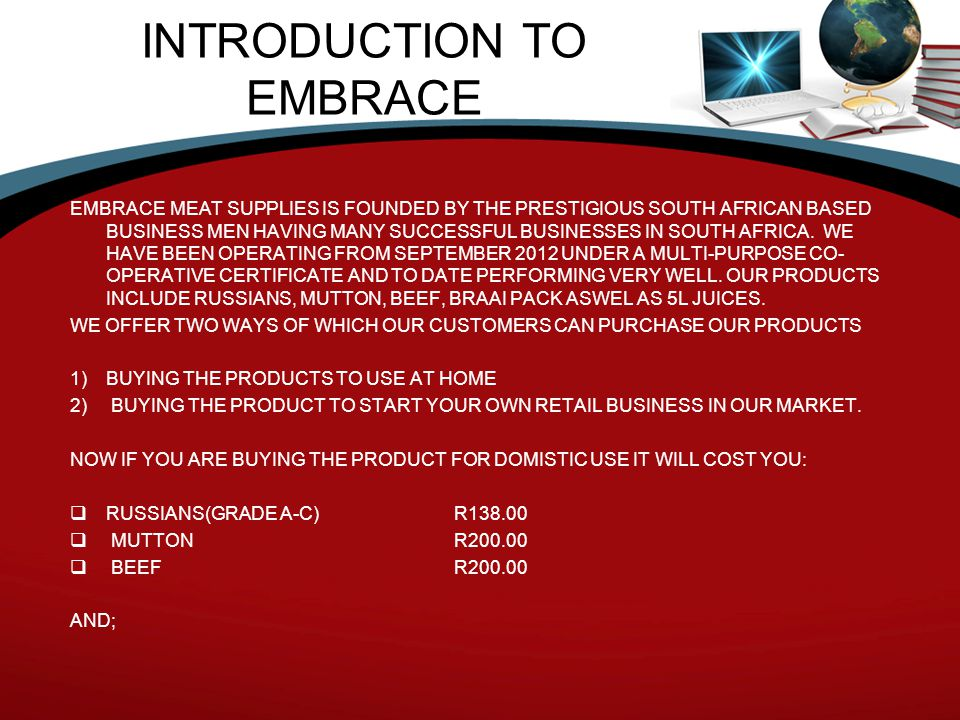 INTRODUCTION TO EMBRACE