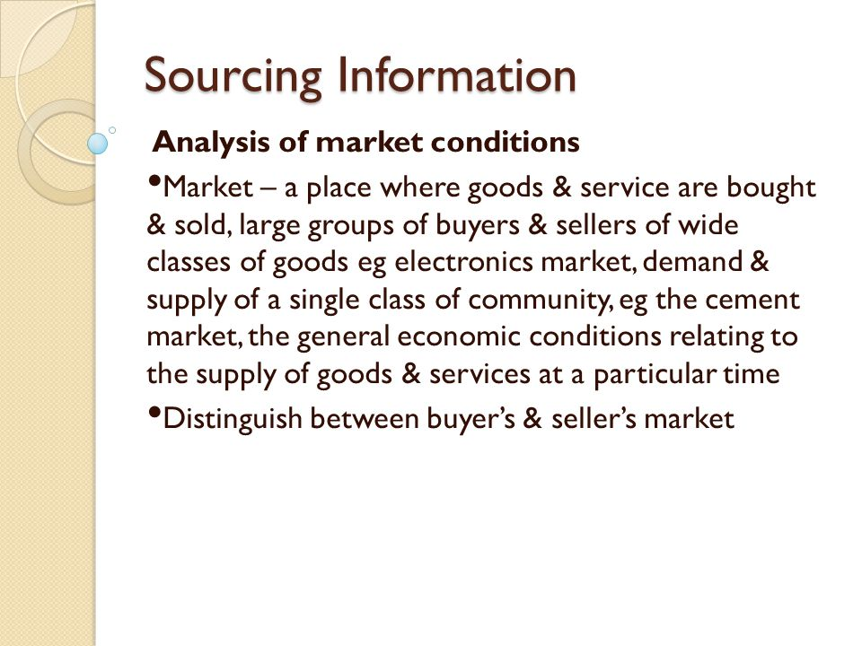 Sourcing Information Analysis of market conditions