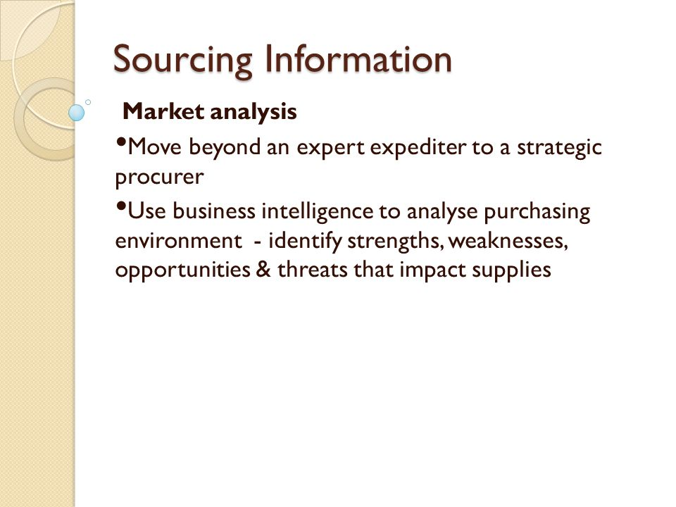 Sourcing Information Market analysis