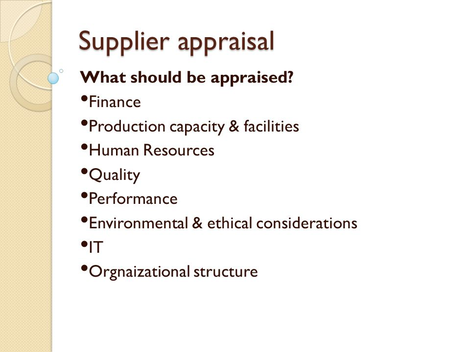 Supplier appraisal What should be appraised Finance