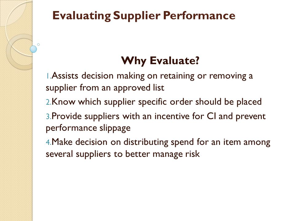 Evaluating Supplier Performance