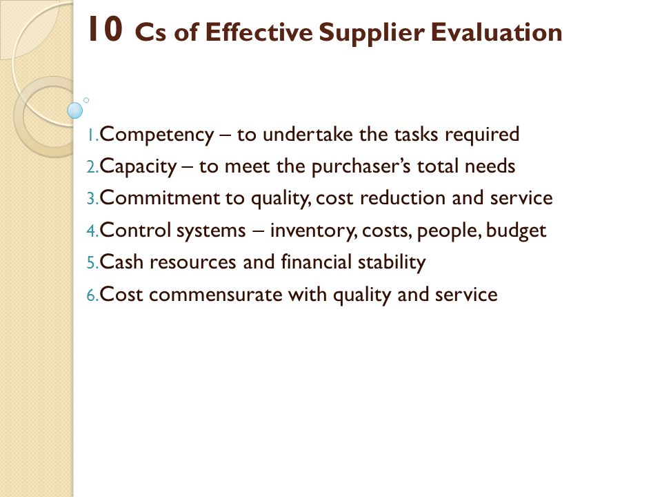 10 Cs of Effective Supplier Evaluation