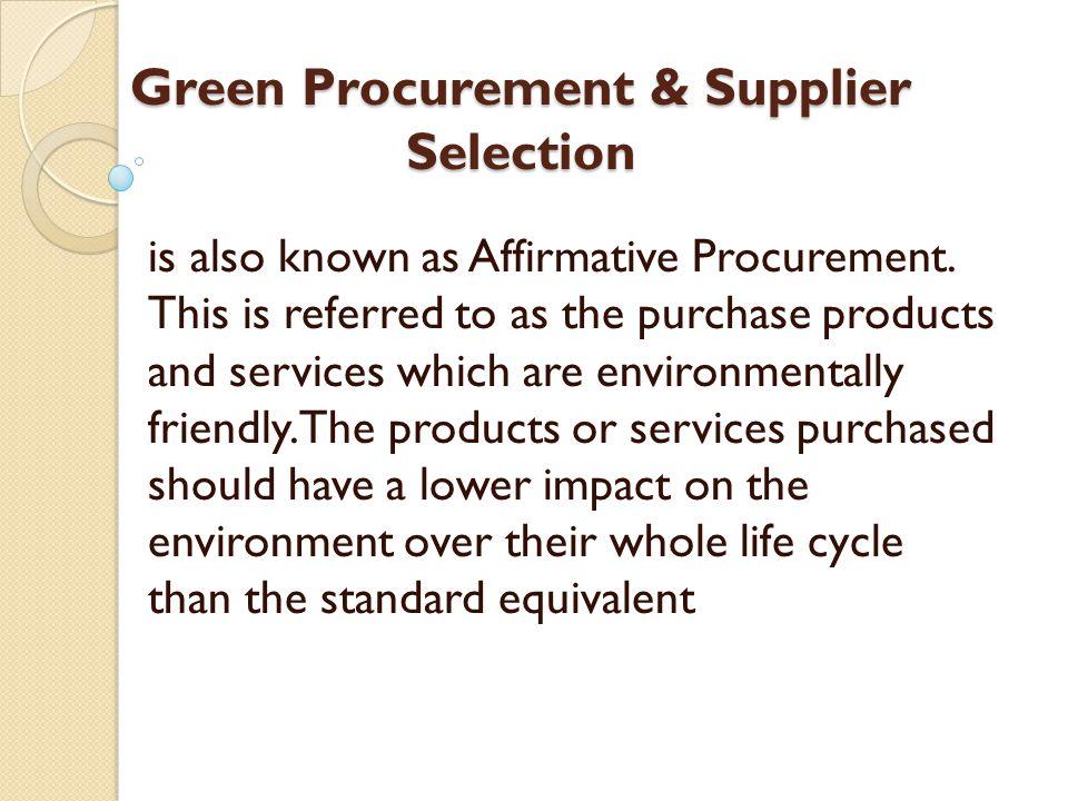 Green Procurement & Supplier Selection