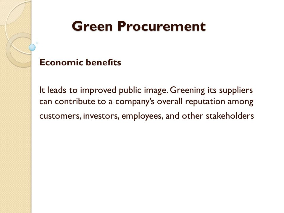 Green Procurement Economic benefits