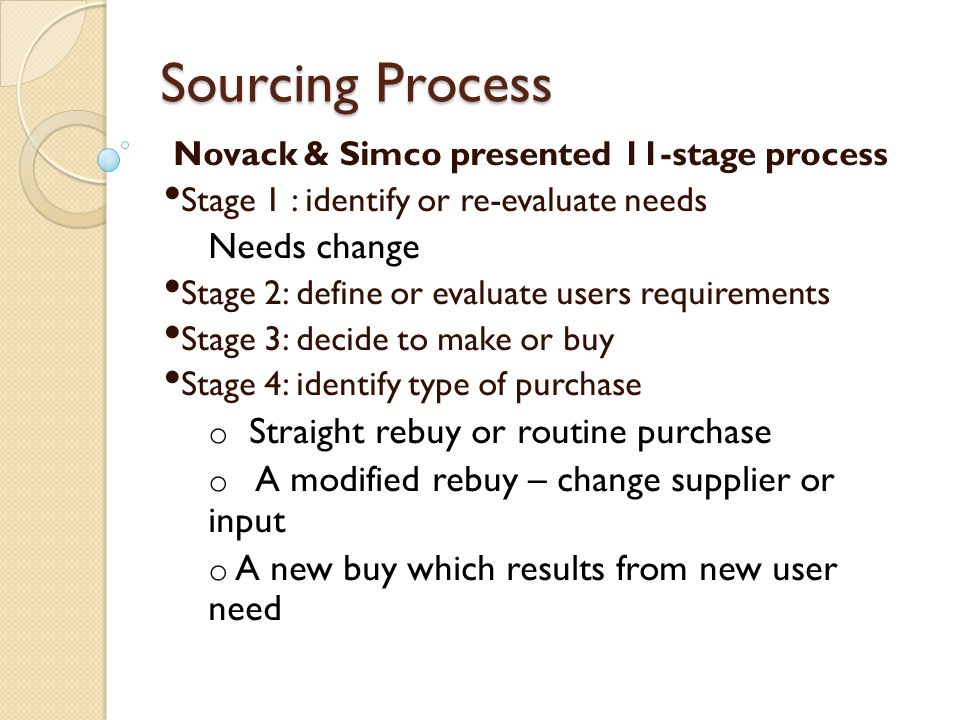 Sourcing Process Needs change Straight rebuy or routine purchase