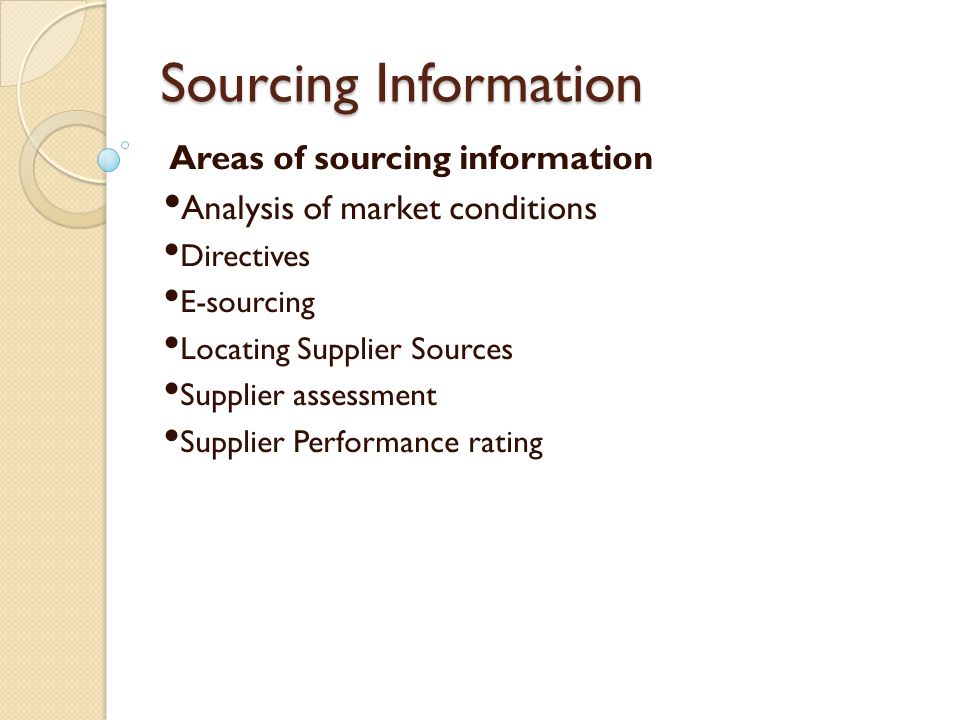 Sourcing Information Areas of sourcing information