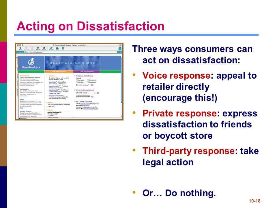 Acting on Dissatisfaction