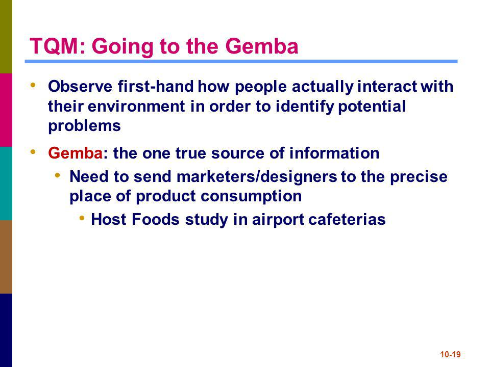 TQM: Going to the Gemba Observe first-hand how people actually interact with their environment in order to identify potential problems.