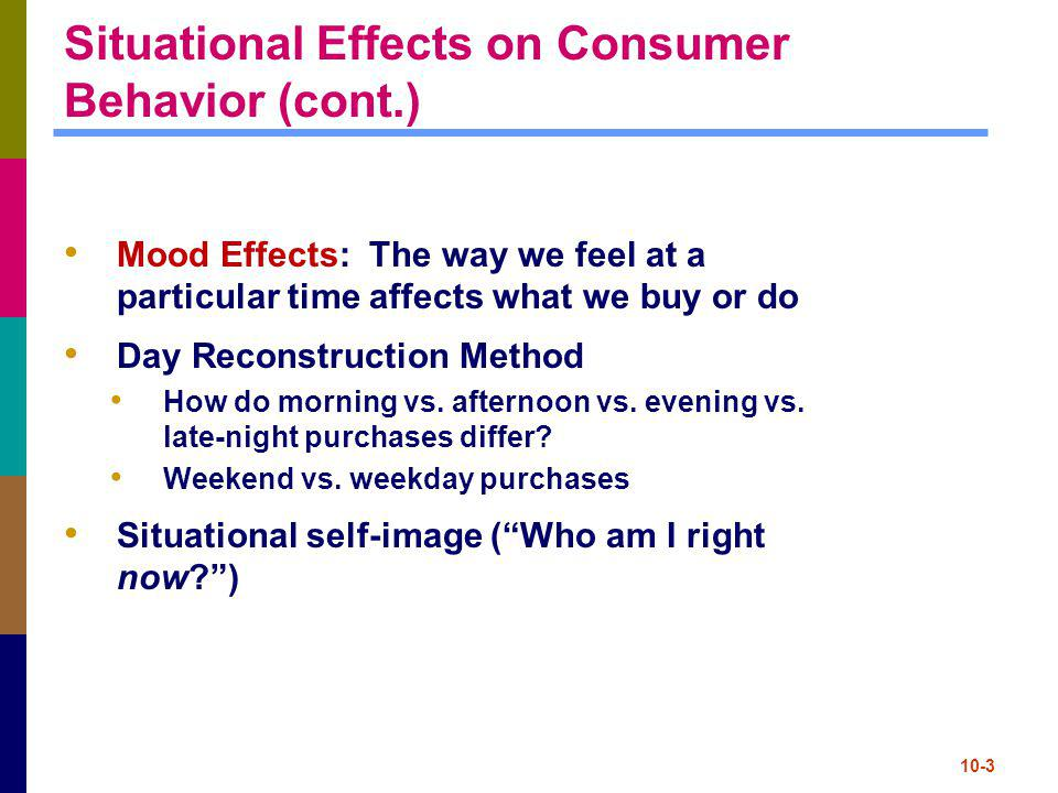 Situational Effects on Consumer Behavior (cont.)