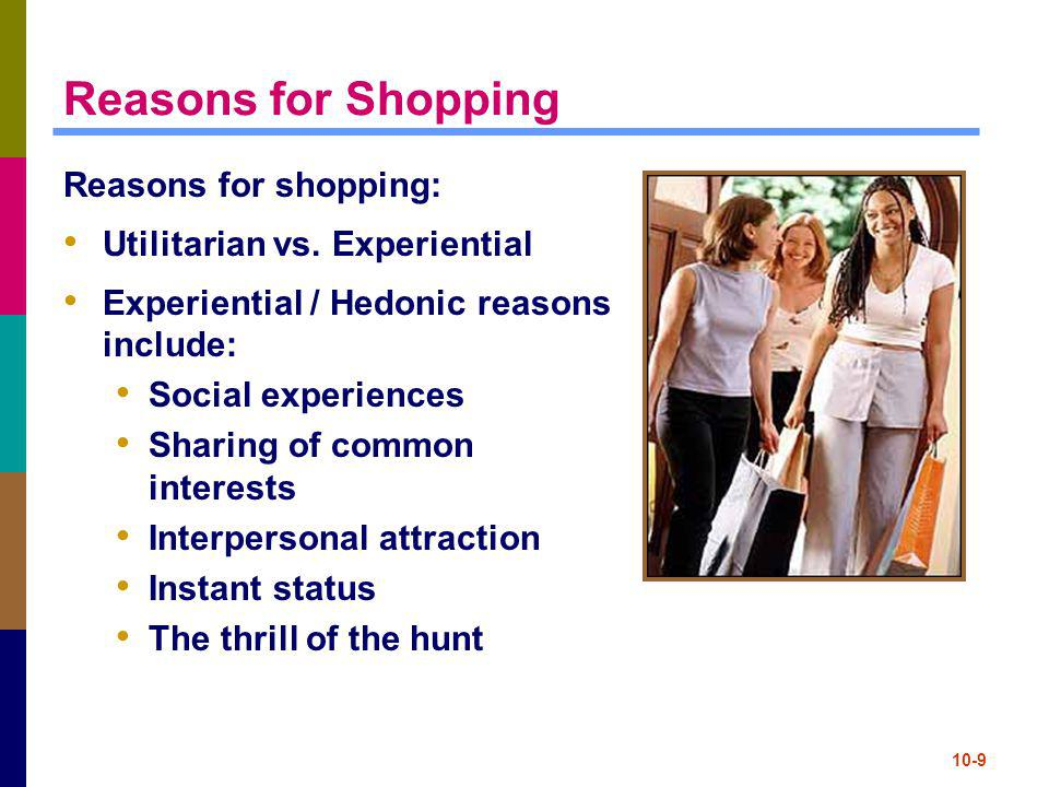 Reasons for Shopping Reasons for shopping:
