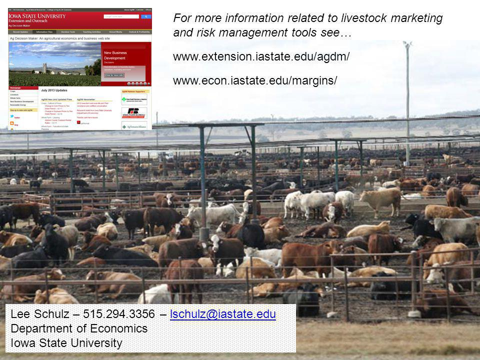 For more information related to livestock marketing and risk management tools see…