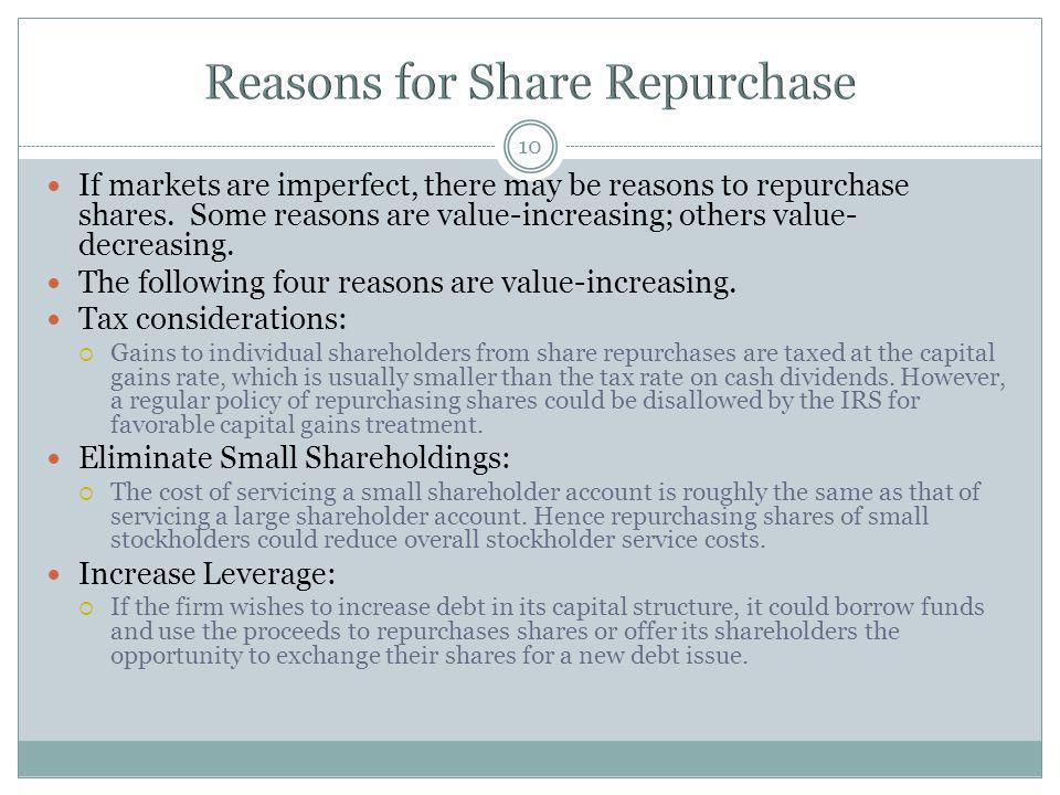 Reasons for Share Repurchase