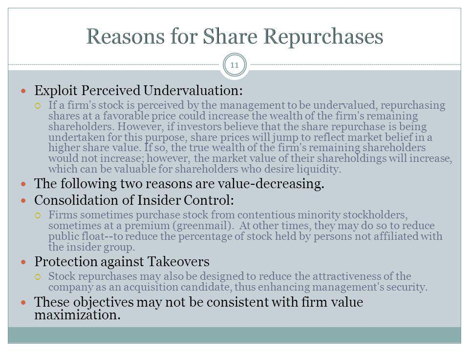 Reasons for Share Repurchases