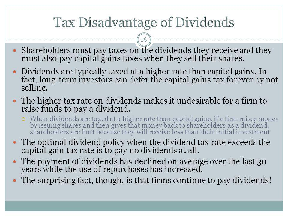 Tax Disadvantage of Dividends