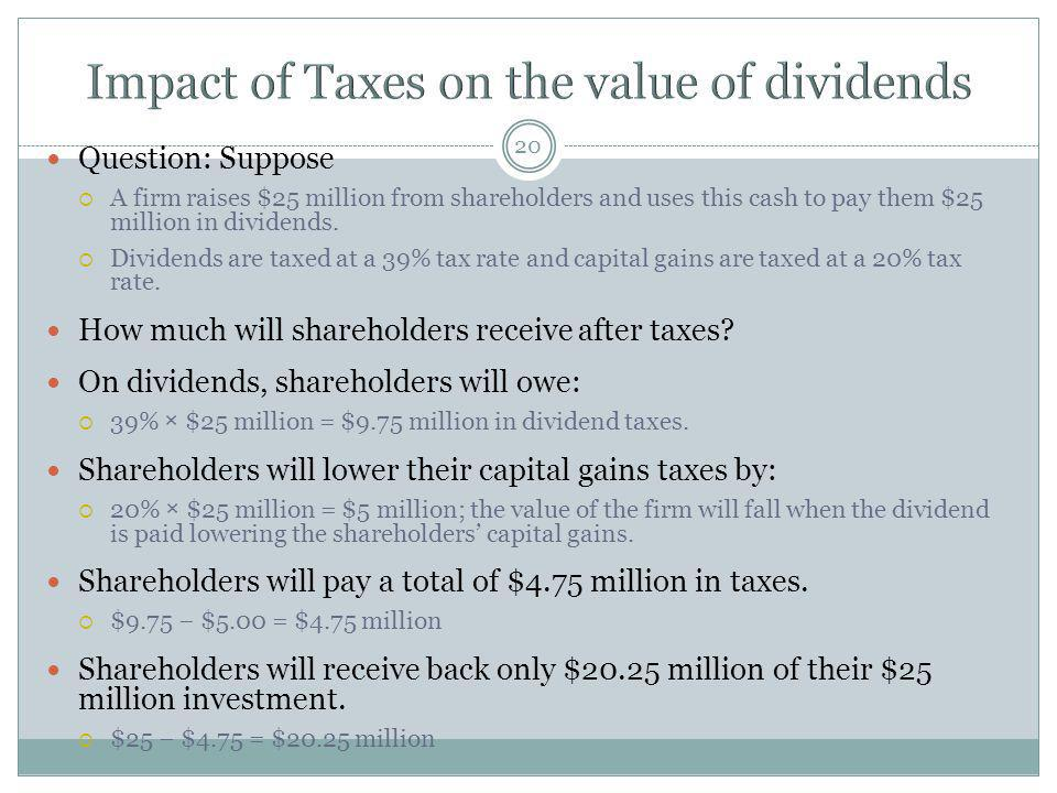 Impact of Taxes on the value of dividends
