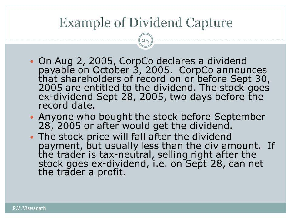 Example of Dividend Capture