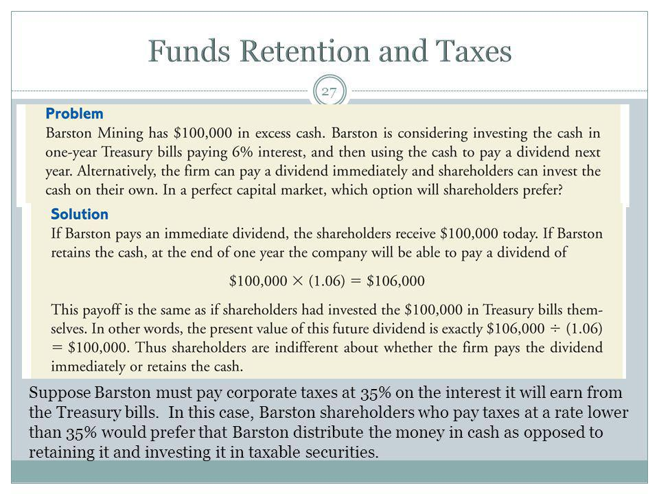 Funds Retention and Taxes