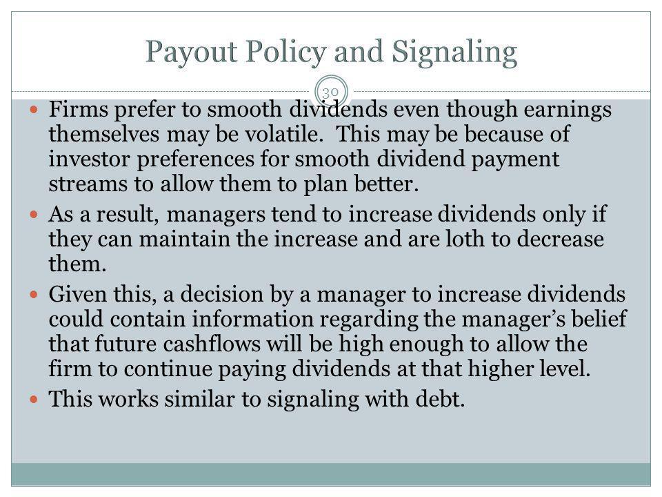 Payout Policy and Signaling