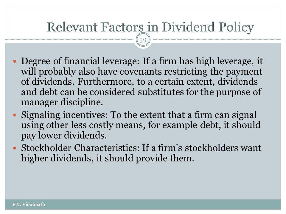 Relevant Factors in Dividend Policy