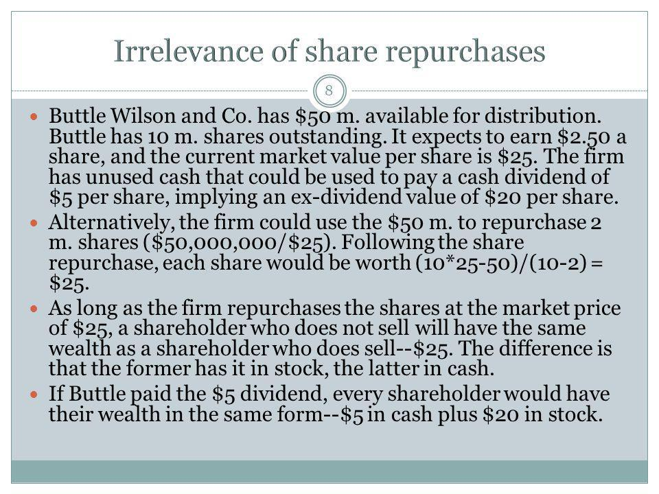 Irrelevance of share repurchases