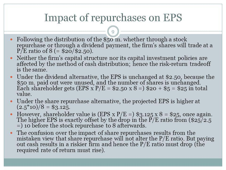 Impact of repurchases on EPS