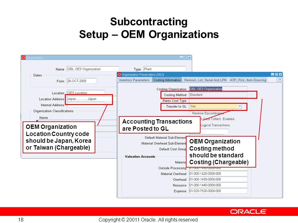 Subcontracting Setup – OEM Organizations