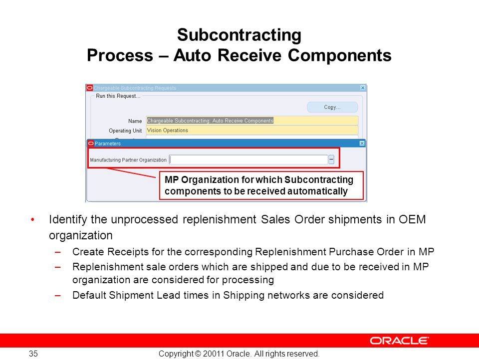 Subcontracting Process – Auto Receive Components