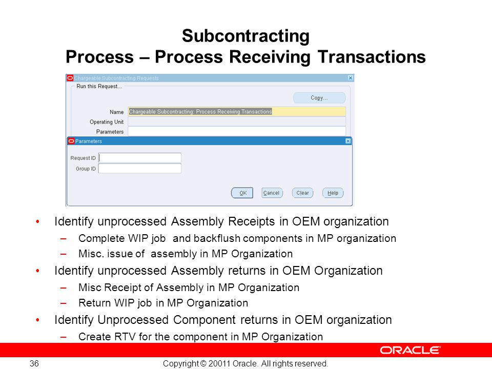 Subcontracting Process – Process Receiving Transactions
