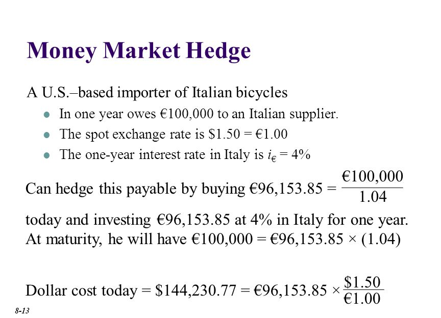 Money Market Hedge With this money market hedge, we have redenominated a one-year €100,000 payable into a $144,230.77 payable due today.