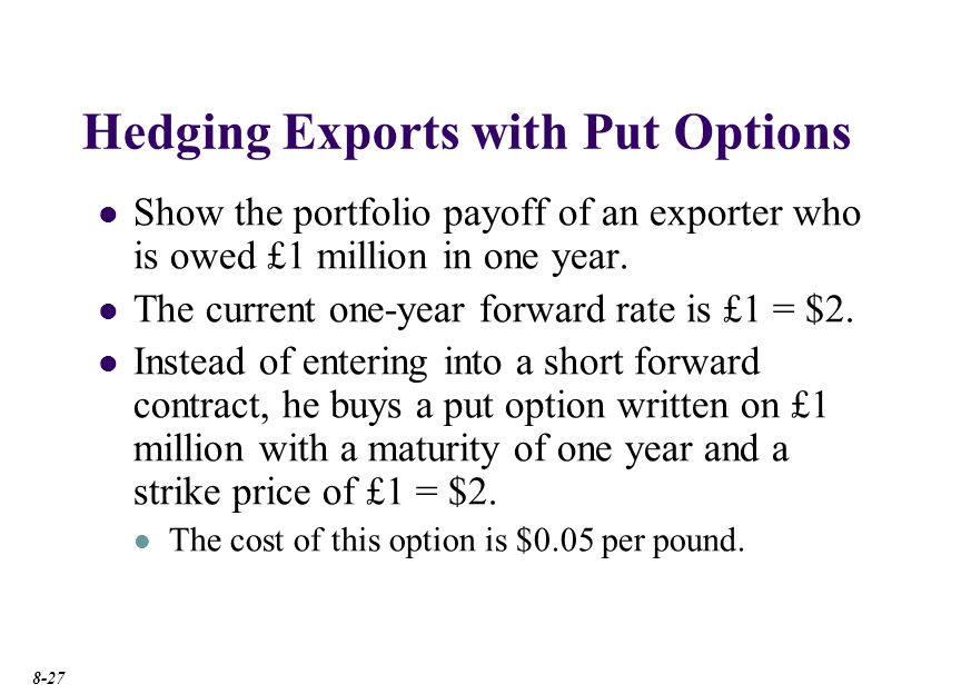 Options Market Hedge: –$50k. $2.05. Hedged receivable. Exporter buys a put option to protect the dollar value of his receivable.