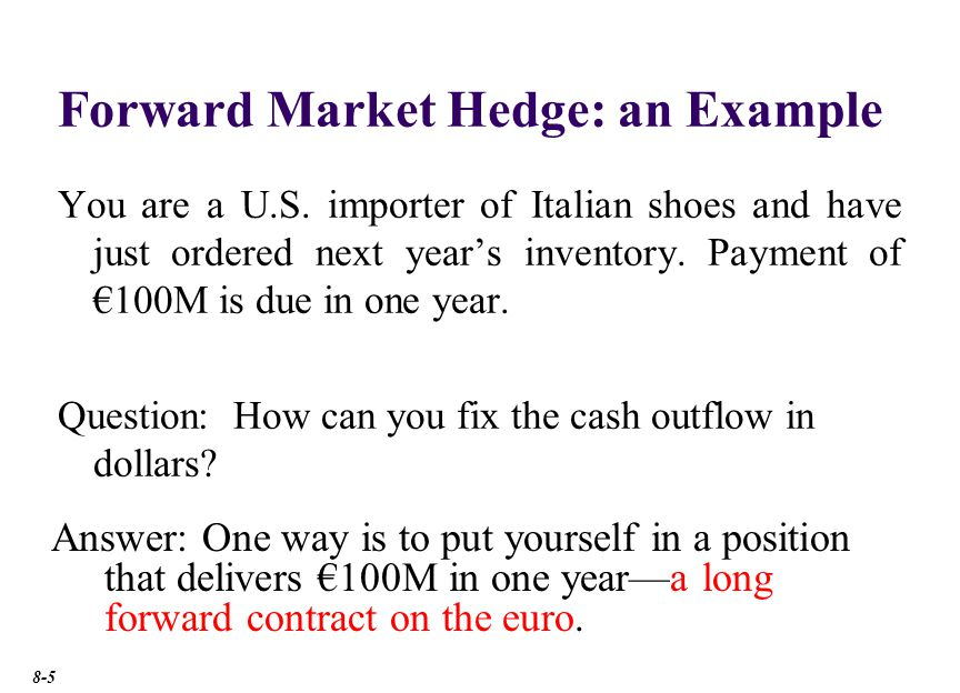 Forward Market Hedge Suppose the forward exchange rate is $1.50/€.