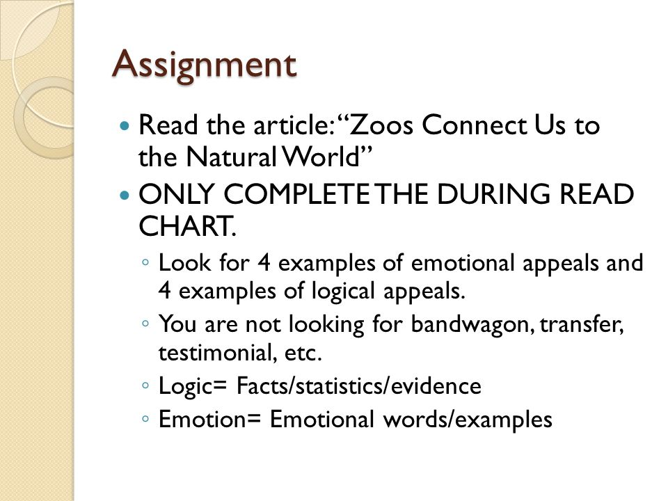 Assignment Read the article: Zoos Connect Us to the Natural World