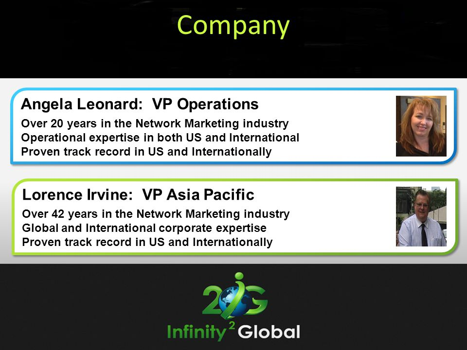 Company Angela Leonard: VP Operations Lorence Irvine: VP Asia Pacific