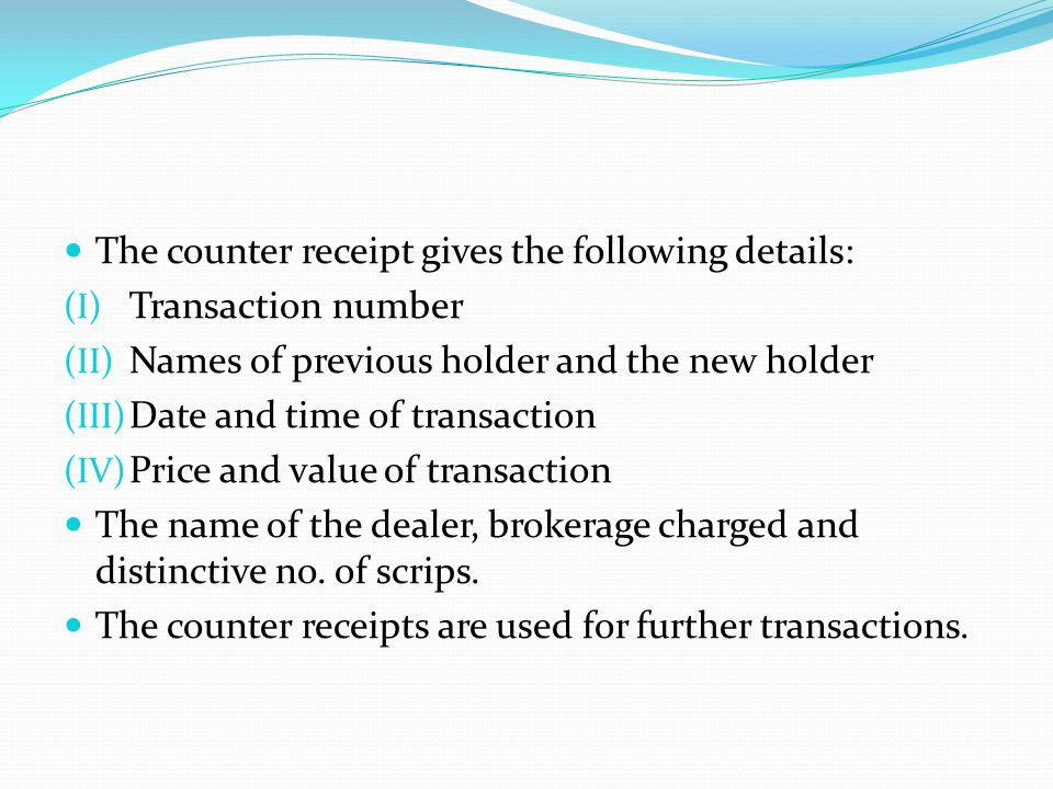 The counter receipt gives the following details: