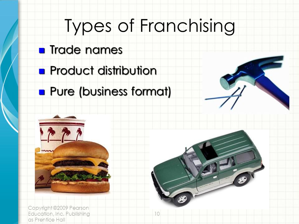 Types of Franchising Trade names Product distribution
