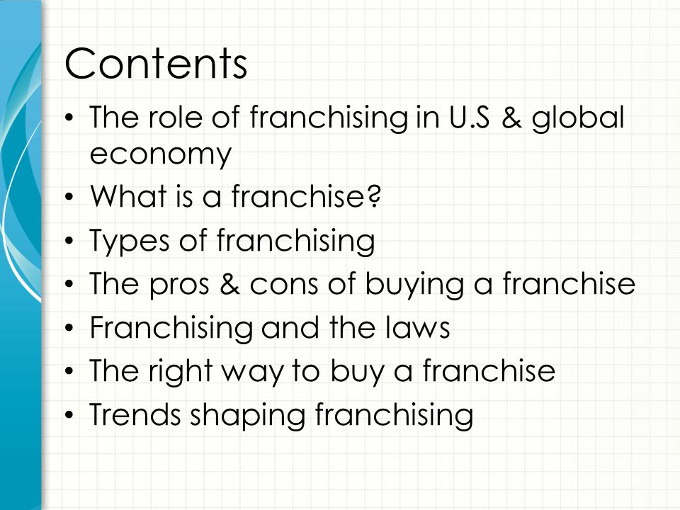 Contents The role of franchising in U.S & global economy