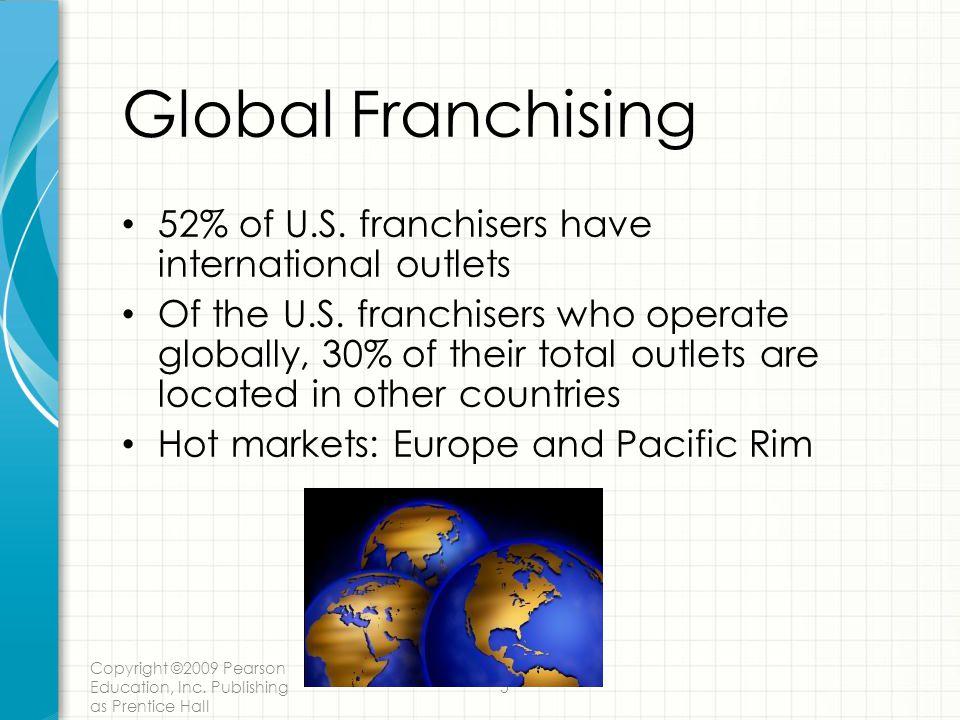 Global Franchising 52% of U.S. franchisers have international outlets