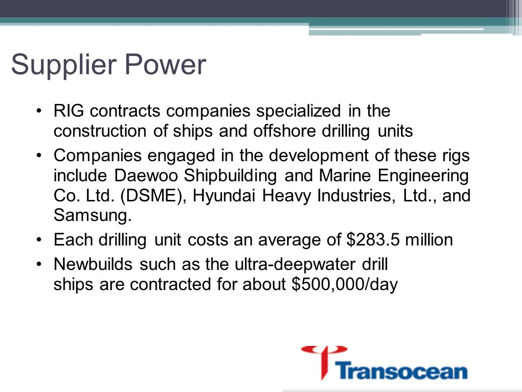 Supplier Power RIG contracts companies specialized in the construction of ships and offshore drilling units.