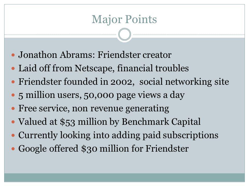 Major Points Jonathon Abrams: Friendster creator