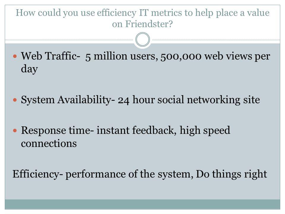 Web Traffic- 5 million users, 500,000 web views per day