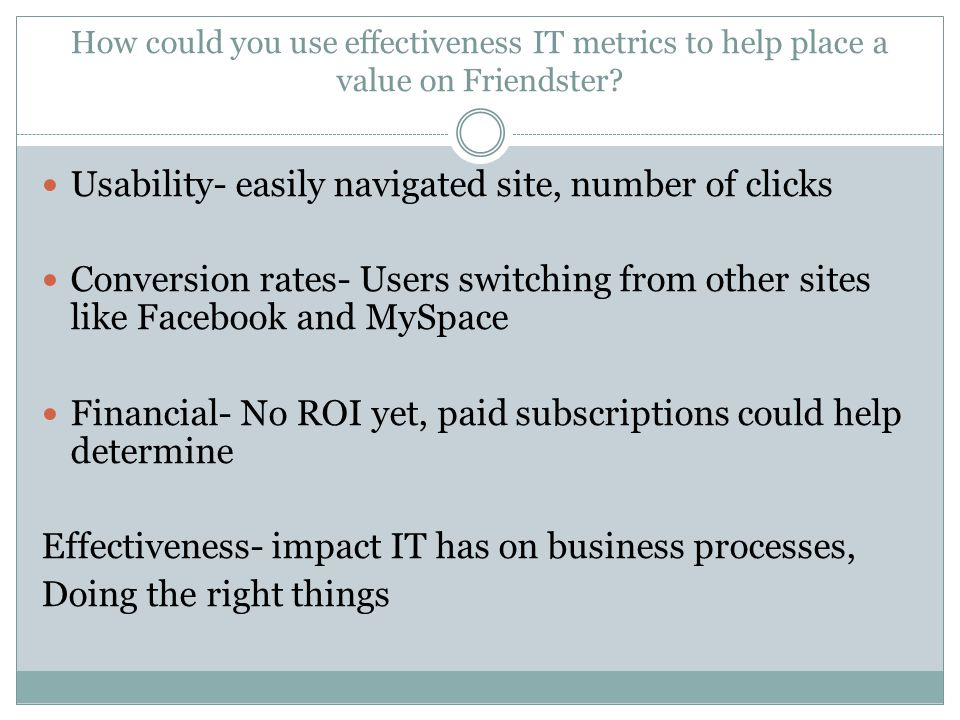 Usability- easily navigated site, number of clicks